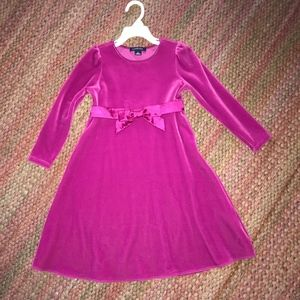 Lands End pink velvet party dress, size 6